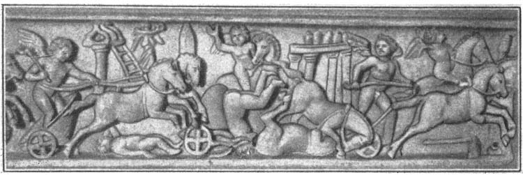 Competitions in the circus (cupids — coachmen). Relief on a sarcophagus. Rome, Vatican Museums, Pius-Clementine Museum, Room of the Biga, 12