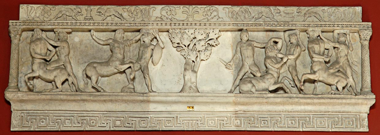 Centauromachia. Relief on a sarcophagus. Roman work of the 2nd century. Inv. No. 290. Rome, Vatican Museums, Pius-Clementine Museum, Room of the Muses, 53