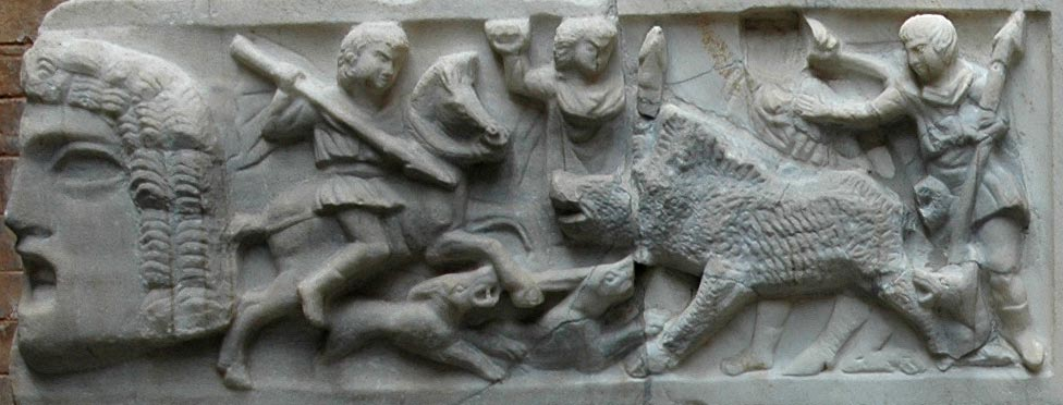 Sarcophagus strigilato. Detail: scene of the hunt for a wild boar. Marble. Second half of the 3rd century. Inv. No. MC9. Rome, Capitoline Museums, Palazzo Nuovo, Courtyard