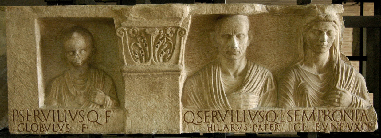 The tombstone of Servilii. Marble. Augustan period. Inv. No. 10491. Rome, Vatican Museums, Gregorian Profane Museum