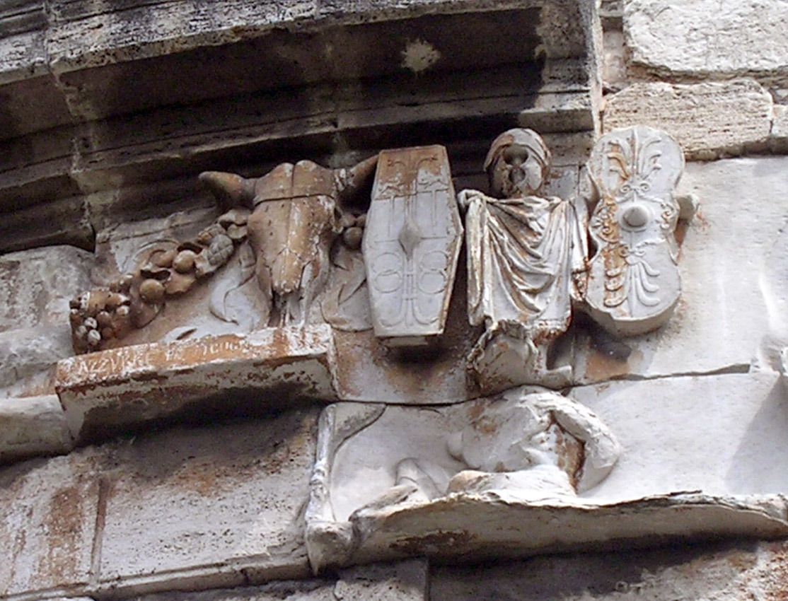 Frieze and relief with the trophy and captive warrior. 3rd quarter of the 1st century BCE. Rome, Tomb of Caecilia Metella
