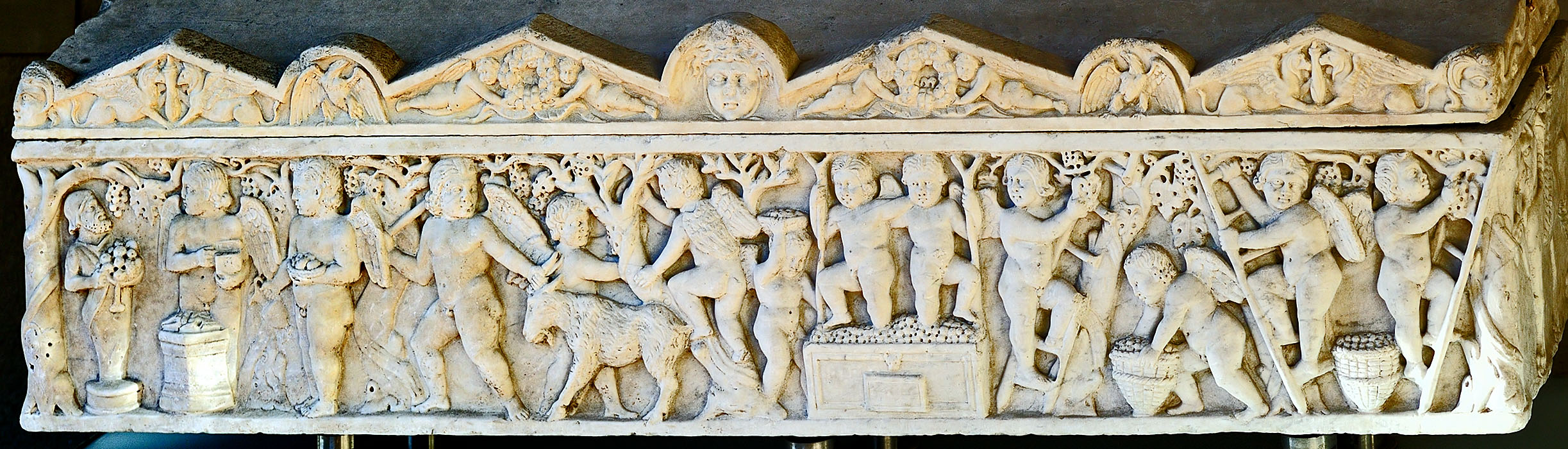 A sarcophagus of a child with vintage scenes. Luni (Carrara) marble. 2nd century CE. Rome, National Museum of Palazzo Venezia
