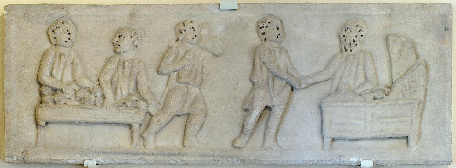 A scene in a money-changer shop. A part of a sarcophagus cover. White marble. 4th cent. CE. Arezzo, Civic Archaeological Museum