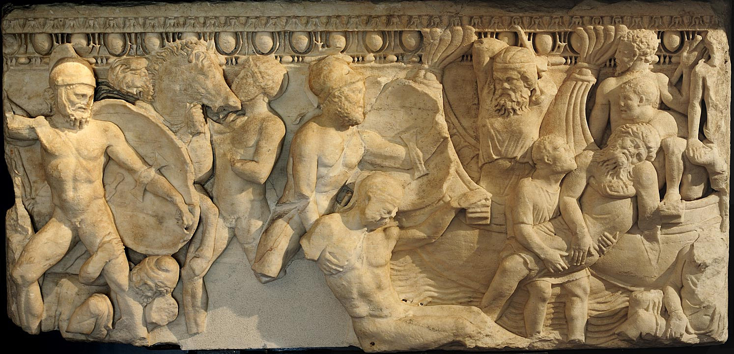 Front panel of sarcophagus with a scene of a naval battle. Apuan marble. 2nd century CE.  Inv. No. MR 1. Brescia, Santa Giulia Civic Museum