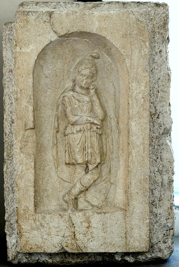 Pillar portraying Attis from funerary enclosure. Botticino stone. 1st century CE. Inv. No. MR 3083. Brescia, Santa Giulia Civic Museum