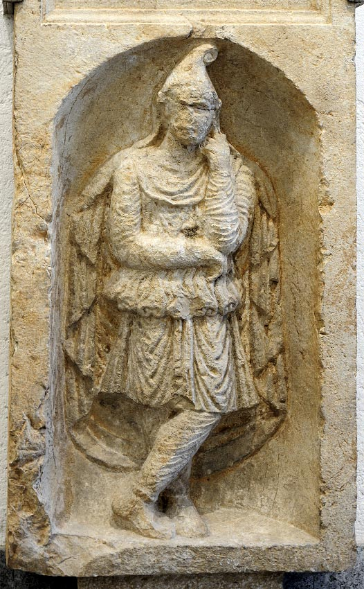 A part of a funerary monument portraying Attis. Second half of the 1st century CE. Inv. No. ST 26334. Bergamo, Civic Archaeological Museum