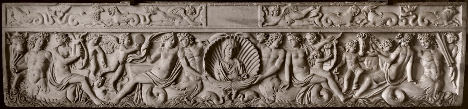 Sarcophagus with a bust of the deceased in a shell and a scene of marine thiasos. Marble. 3rd century CE. Verona, Museum-Lapidarium of Maffei