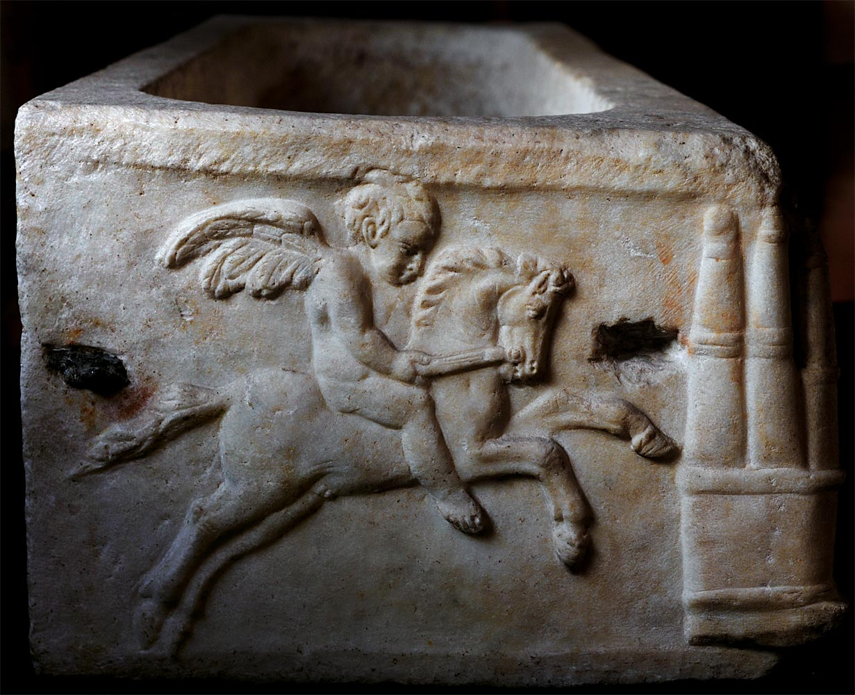 Sarcophagus of a child with a chariot race (left side wall). Marble. 2nd century CE. Verona, Museum-Lapidarium of Maffei