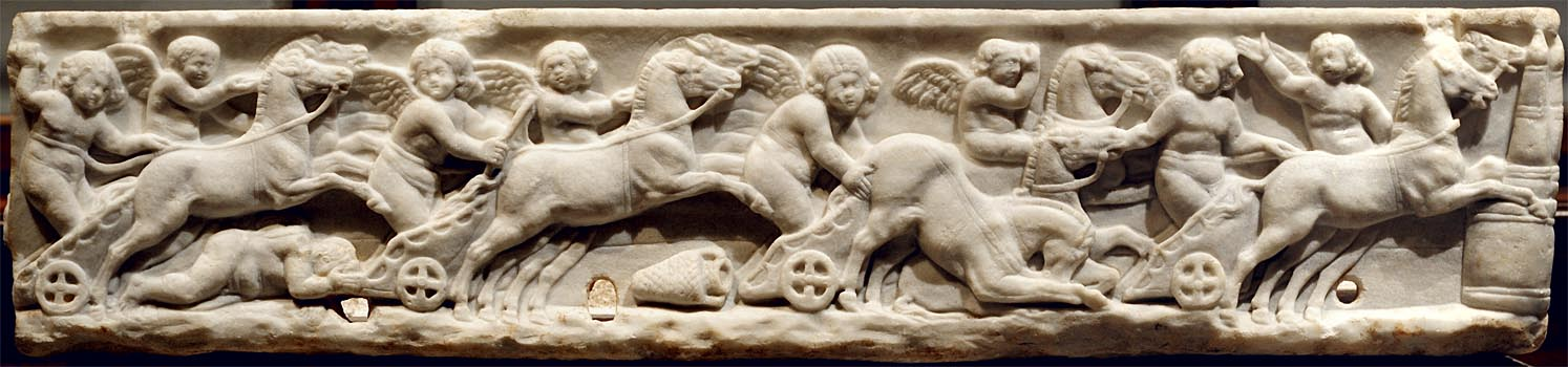 Sarcophagus of a child with a chariot race (front panel). Marble. 130—140 CE. Inv. No. I 1130. Vienna, Museum of Art History