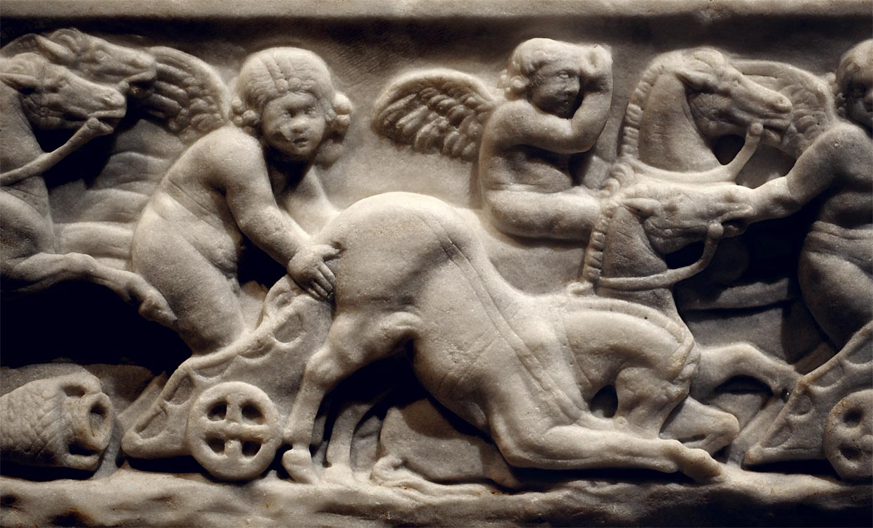 Sarcophagus of a child with a chariot race (front panel). Detail. Marble. 130—140 CE. Inv. No. I 1130. Vienna, Museum of Art History