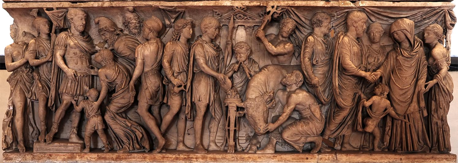 Sarcophagus with scenes of life of a roman military officer (front panel). Marble. 2nd century CE. Mantua, Ducal Palace