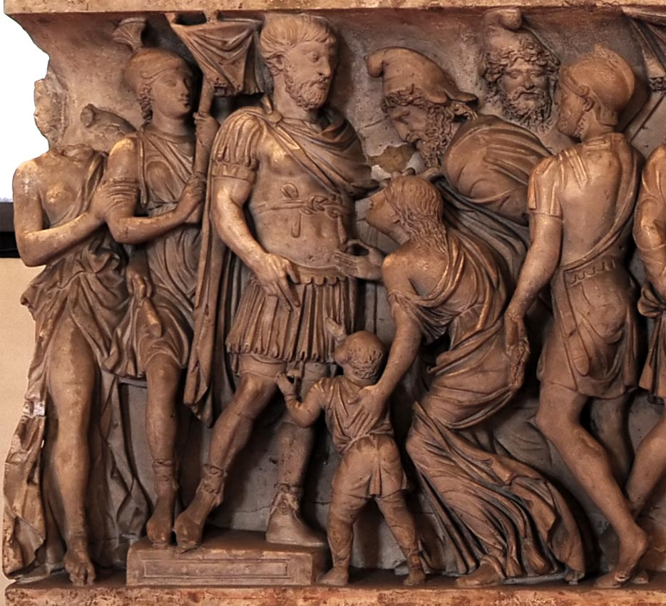Sarcophagus with scenes of life of a roman military officer. Virtus and clementia. Marble. 2nd century CE. Mantua, Ducal Palace