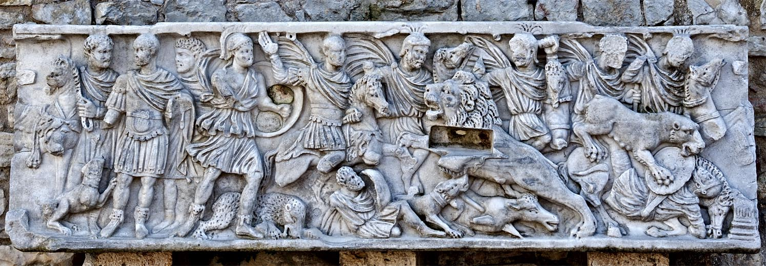 Frontal panel of a sarcophagus with scenes of lions hunting. Marble. 220—270 CE. Spoleto, Piazza del Duomo