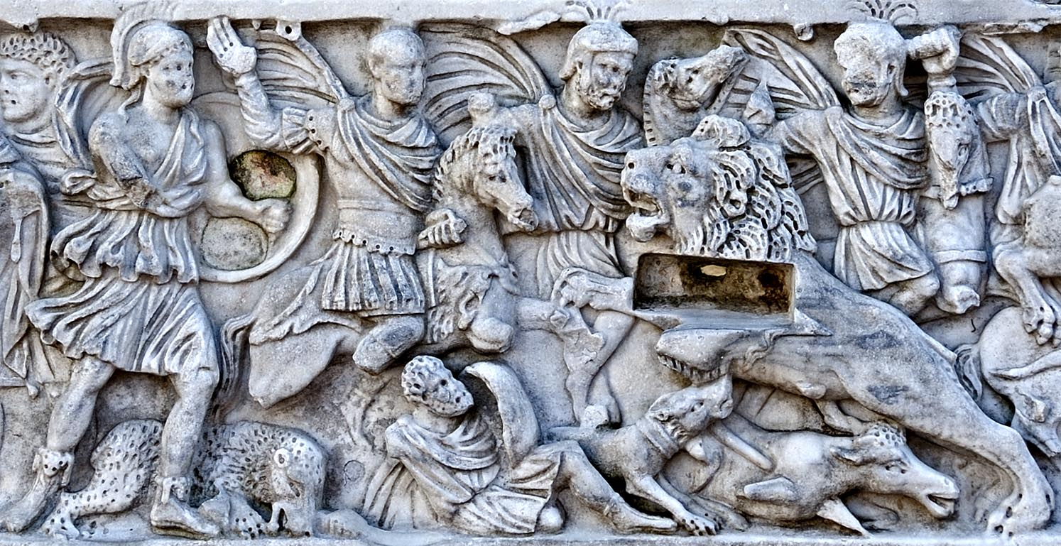 Frontal panel of a sarcophagus with scenes of lions hunting. The central scene. Marble. 220—270 CE. Spoleto, Piazza del Duomo