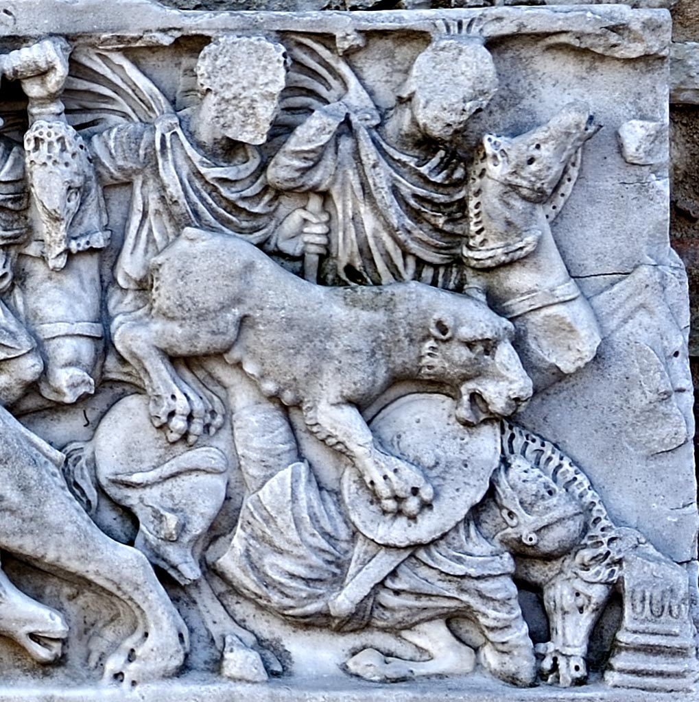 Frontal panel of a sarcophagus with scenes of lions hunting. The right scene. Marble. 220—270 CE. Spoleto, Piazza del Duomo
