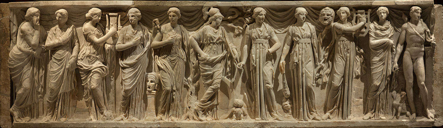Sarcophagus of the Muses. White marble. Rome, 180—200 CE. Vienna, Museum of Art History