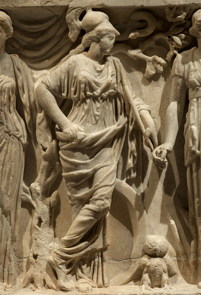Sarcophagus of the Muses. Detail: Athena with an owl and a snake. White marble. Rome, 180—200 CE. Vienna, Museum of Art History
