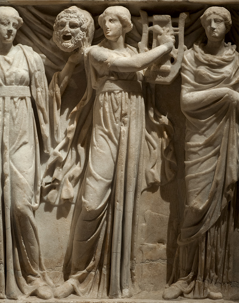 Sarcophagus of the Muses. Detail: Erato. White marble. Rome, 180—200 CE. Vienna, Museum of Art History