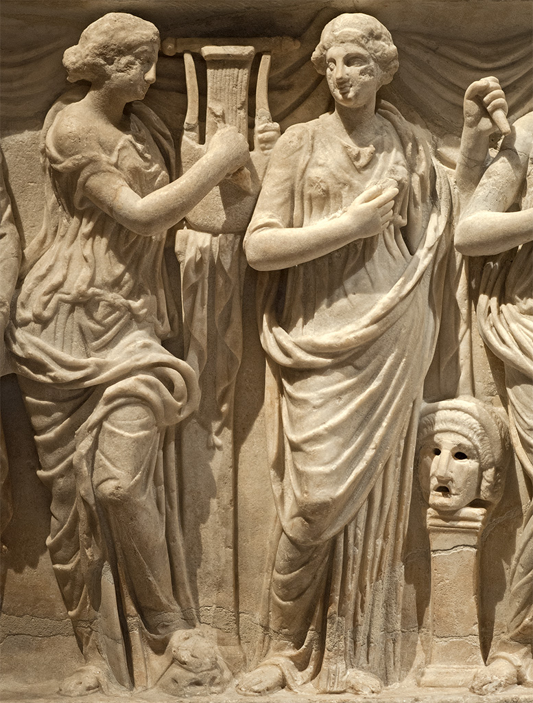 Sarcophagus of the Muses. Detail: Terpsichore and Thalia. White marble. Rome, 180—200 CE. Vienna, Museum of Art History