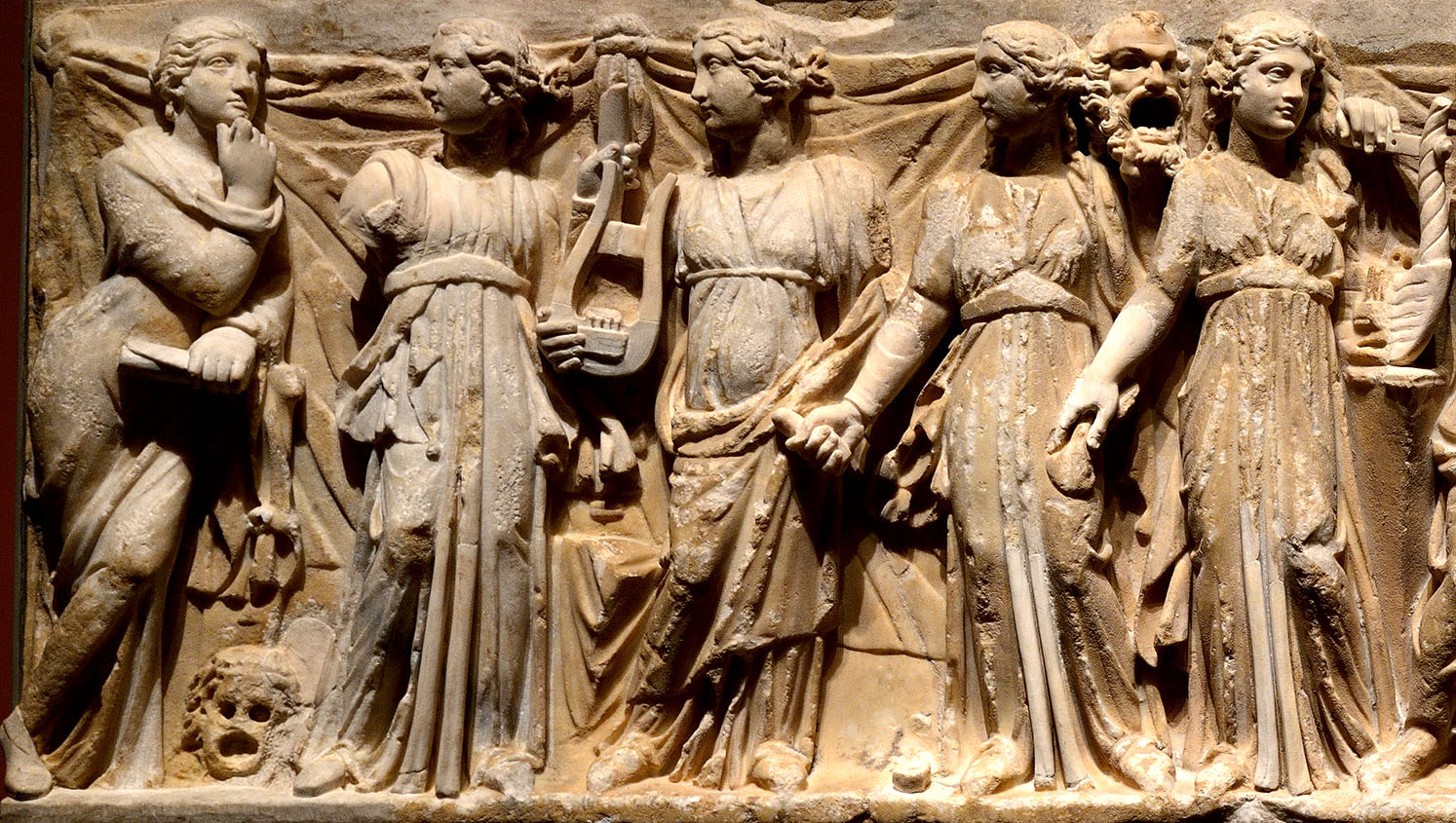 Nine Muses, Athena and Apollo. Detail: Polyhymnia, Euterpe, Thalia, Melpomene, Erato. Relief of the front wall of a sarcophagus. Marble. 2nd cent. CE. Inv. No. A 185. Saint Petersburg, The State Hermitage Museum