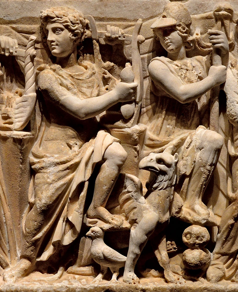 Nine Muses, Athena and Apollo. Detail: Apollo and Athena. Relief of the front wall of a sarcophagus. Marble. 2nd cent. CE. Saint Petersburg, The State Hermitage Museum