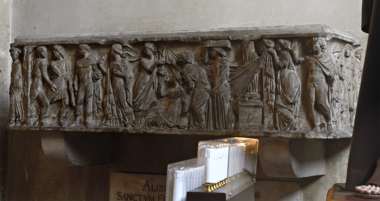 Sarcophagus with scenes of the myth of Protesilaus and Laodamia. Marble. Late 2nd century CE.  Naples, Santa Chiara Church