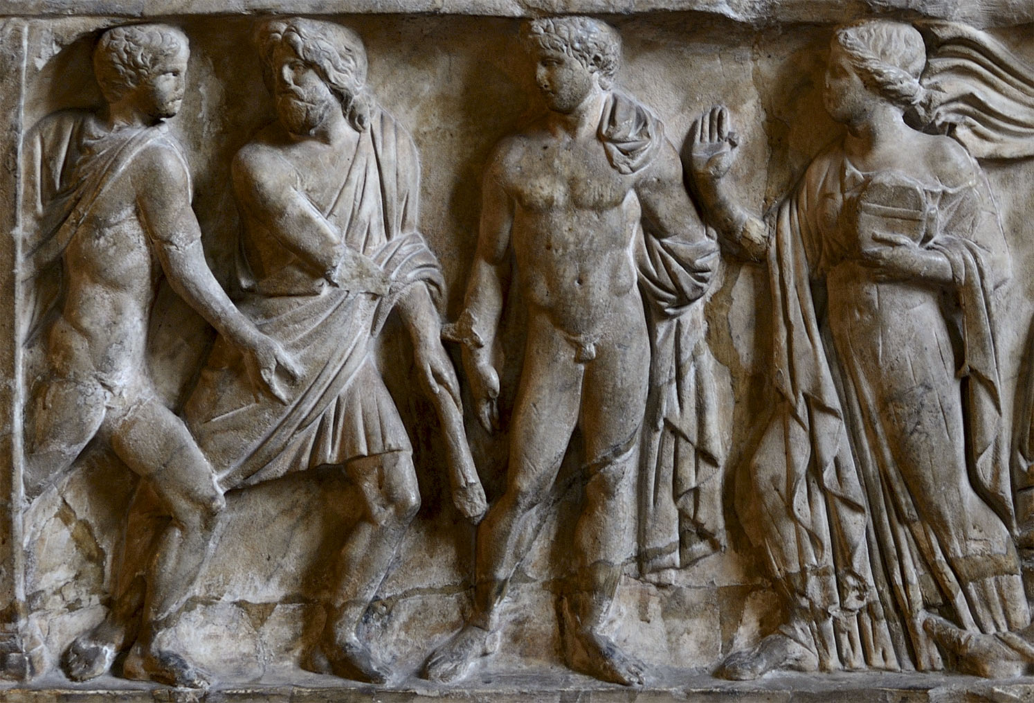 "Sarcophagus with scenes of the myth of Protesilaus and Laodamia. ""Laodamia meets Protesilaus"". The front panel. Marble. Late 2nd century CE. Naples, Santa Chiara Church"