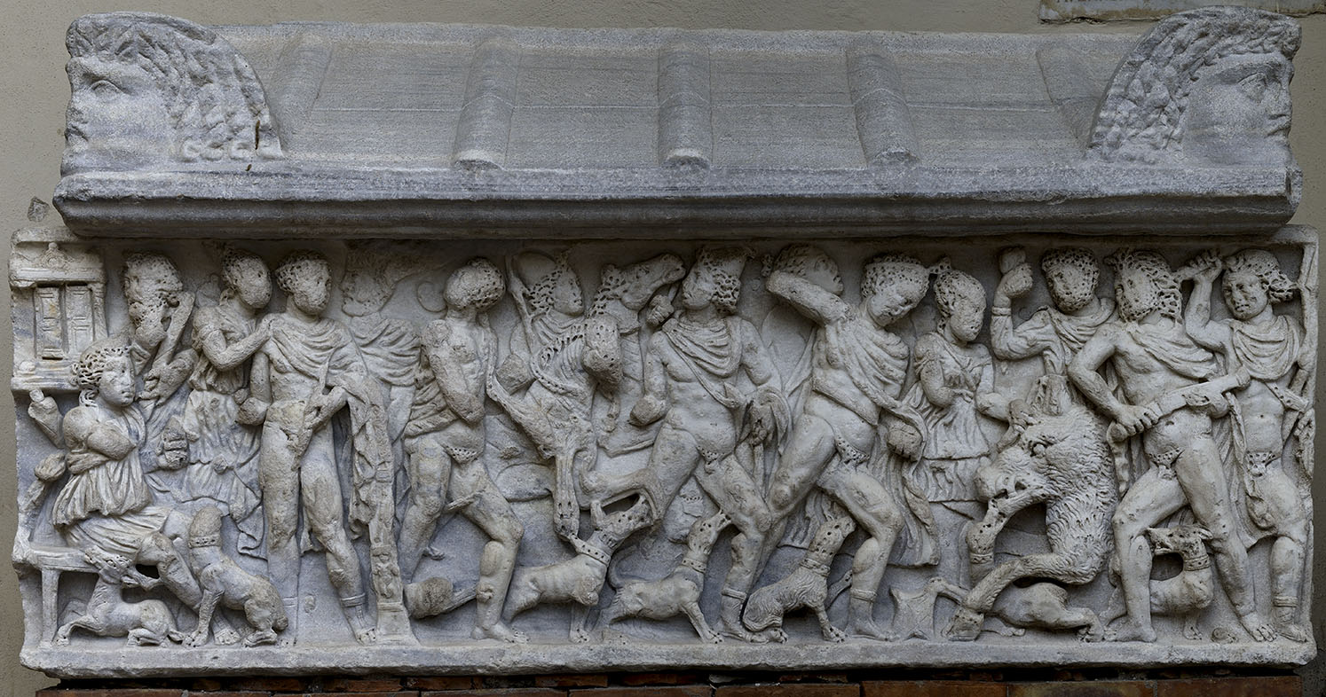 Sarcophagus with a scene of the Calydonian Hunt. Proconnesian marble. 3rd cent. CE. Dimensions: L. 235 cm, H. 79 cm, D. 70 cm. Salerno, Cathedral