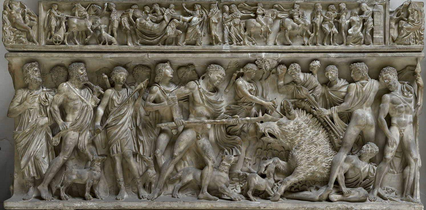 Sarcophagus with a scene of the Calydonian Hunt. Luna marble. 170—180 CE.  Rome, Doria Pamphilj Gallery