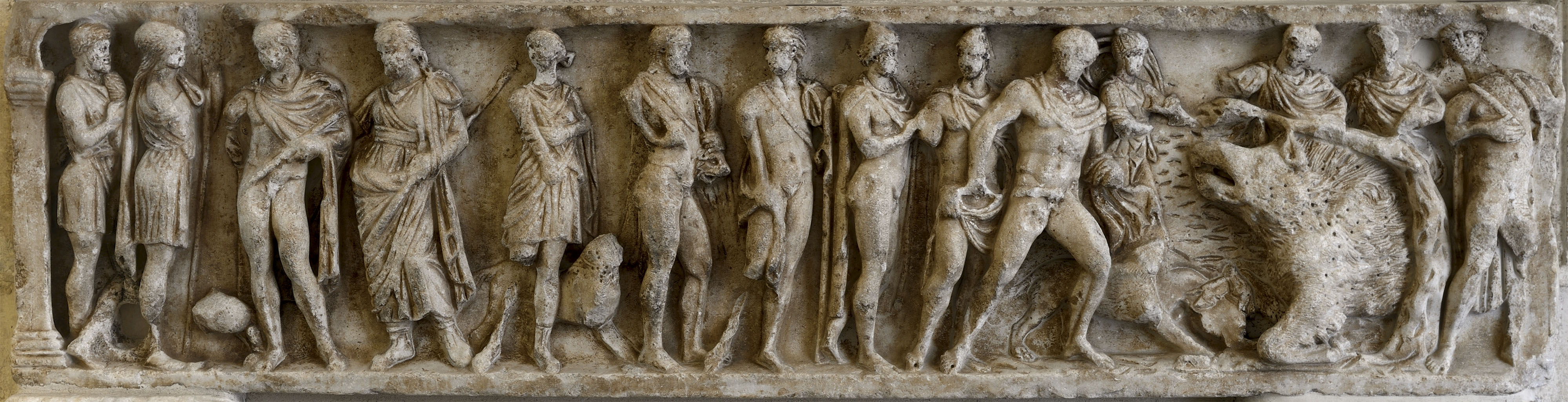 Sarcophagus with a scene of the Calydonian Hunt. The front panel. Marble. Second half of the 2nd cent. CE.  Rome, Capitoline Museums