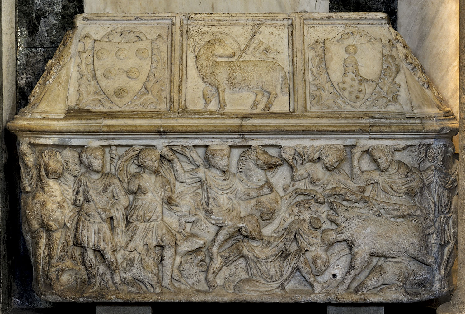 A lenos-shaped sarcophagus with a scene of the Calydonian Hunt. Marble. 4th cent. CE. Florence, Baptistery