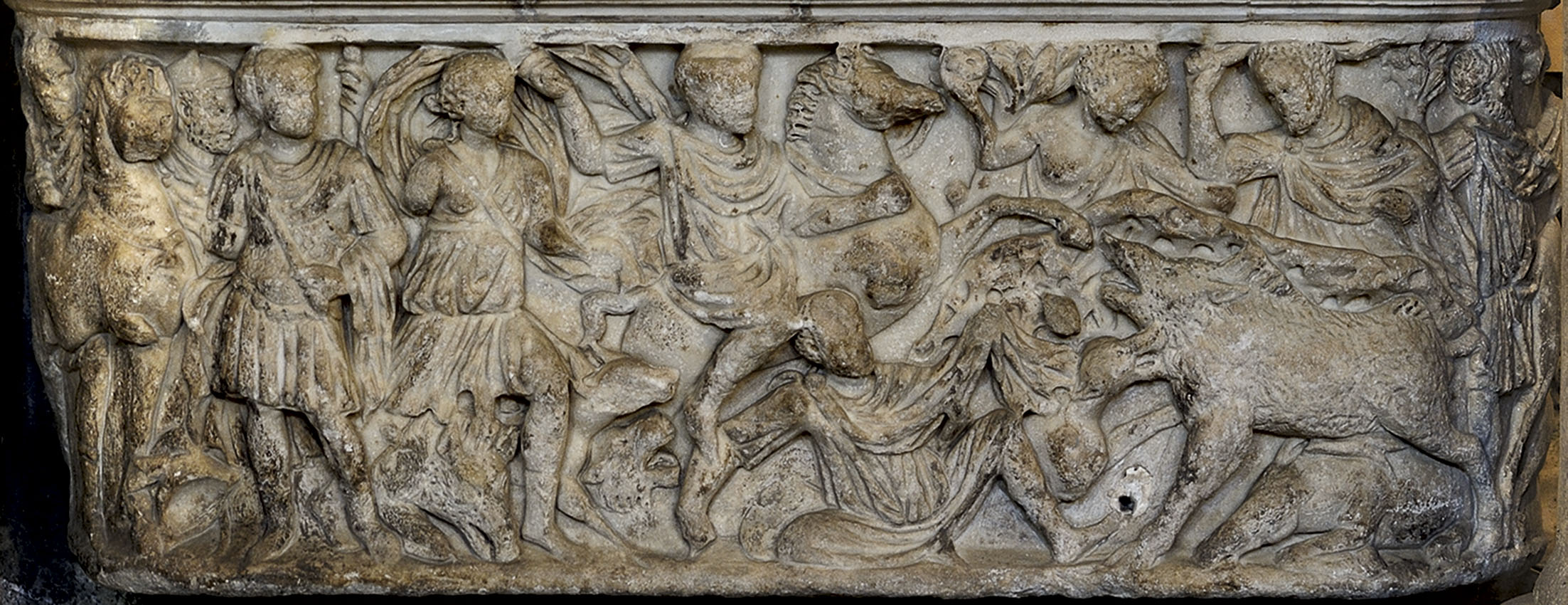 A lenos-shaped sarcophagus with a scene of the Calydonian Hunt. The frontal side. Marble. Marble. 4th cent. CE. Florence, Baptistery