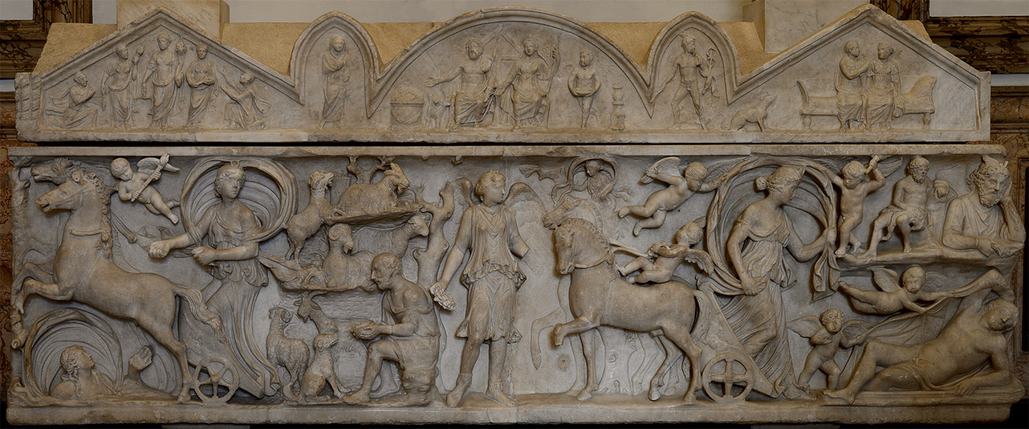 Sarcophagus with a myth of Selene and Endymion. Marble. Sarcophagus: beginning of 3rd cent. CE. Lid: mid-2nd cent. CE. Inv. No. MC 725. Rome, Capitoline Museums, Palazzo dei Conservatori