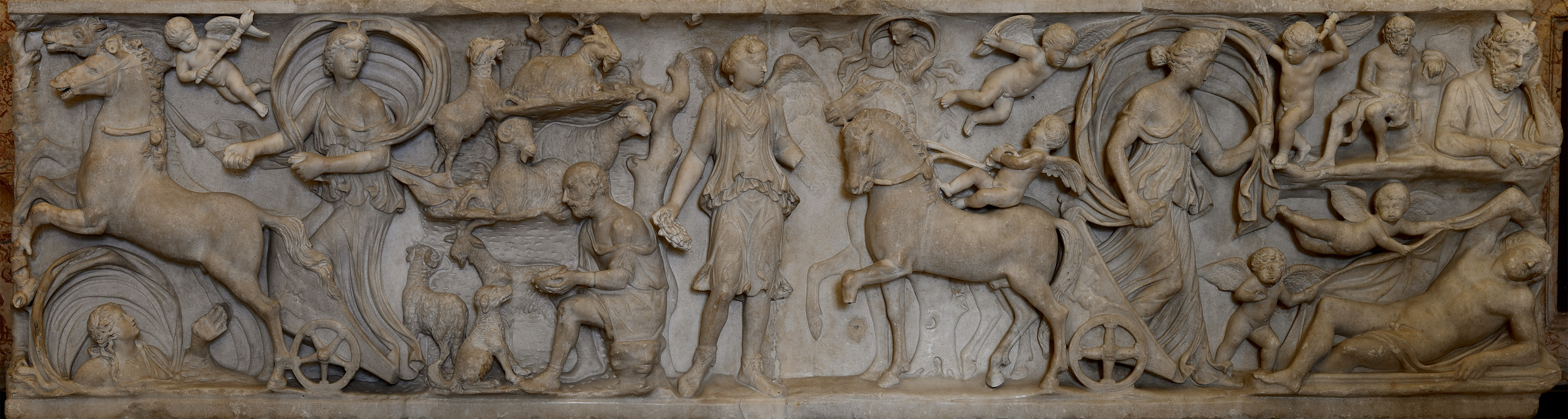 Sarcophagus with a myth of Selene and Endymion. Front panel. Marble. Beginning of the 3rd cent. CE.  Inv. No. MC 725. Rome, Capitoline Museums, Palazzo dei Conservatori