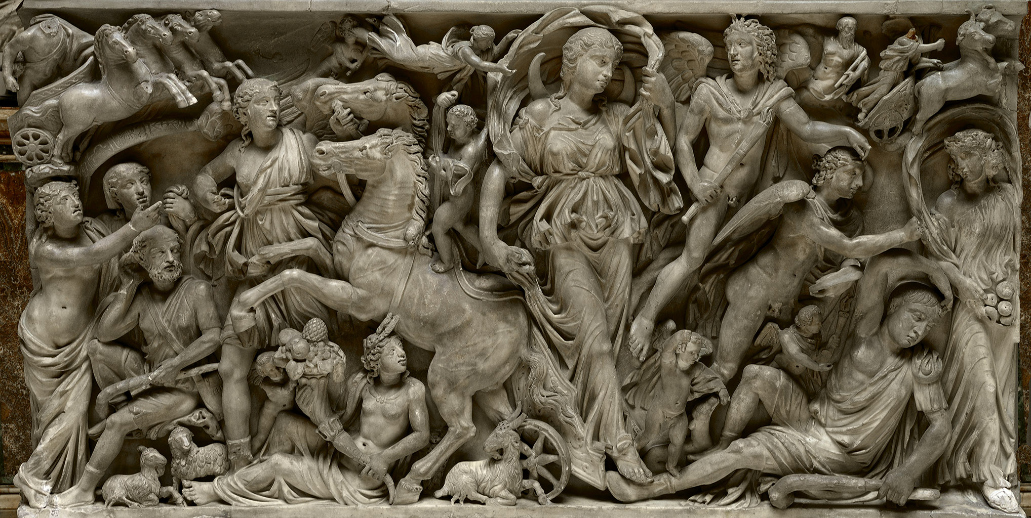 Sarcophagus with a myth of Selene and Endymion. Front panel. Marble. L. 252 cm; H. 132 cm; D. 120 cm. First half of the 3rd cent. CE. Rome, Doria Pamphilj Gallery