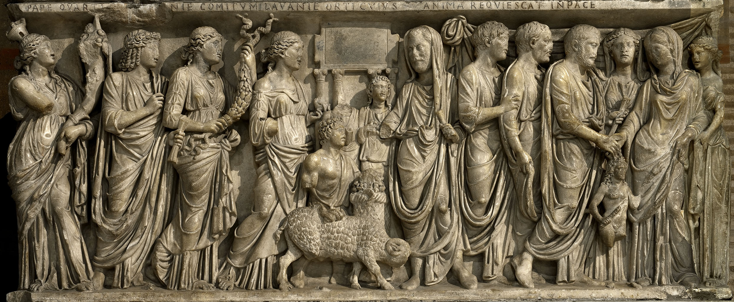 Marriage sarcophagus (known as sarcophagus of cardinal Guglielmo Fieschi. Front panel with wedding scenes. Marble. Ca. 210-220 CE. Rome, Basilica di San Lorenzo fuori le Mura