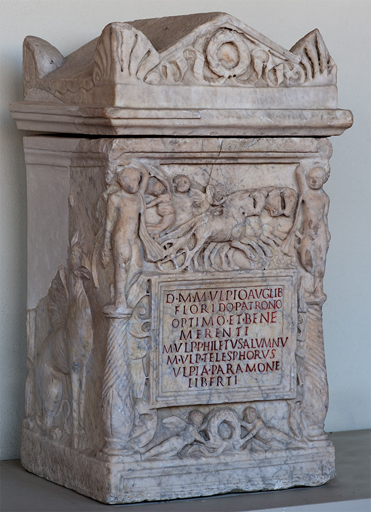 Cinerary urn of Marcus Ulpius Floridus with a scene of the Persephone's abduction. Marble. Early 2nd cent. CE. Rome (?). Inv. No. Com. 515. Perugia, National Archaeological Museum of Umbria