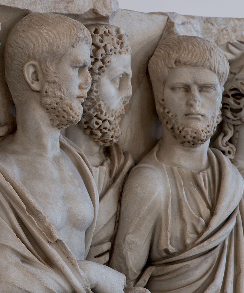 "A lenos-shaped sarcophagus known as ""Sarcophagus of the Brothers"" or a ""Senatorial sarcophagus"" (close-up). Carrara marble. 240—260 CE. Inv. No. 6603. Naples, National Archaeological Museum"