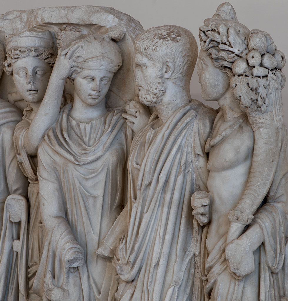 """A lenos-shaped sarcophagus known as """"Sarcophagus of the Brothers"""" or a """"Senatorial sarcophagus"""" (close-up). Carrara marble. 240—260 CE. Inv. No. 6603. Naples, National Archaeological Museum"""