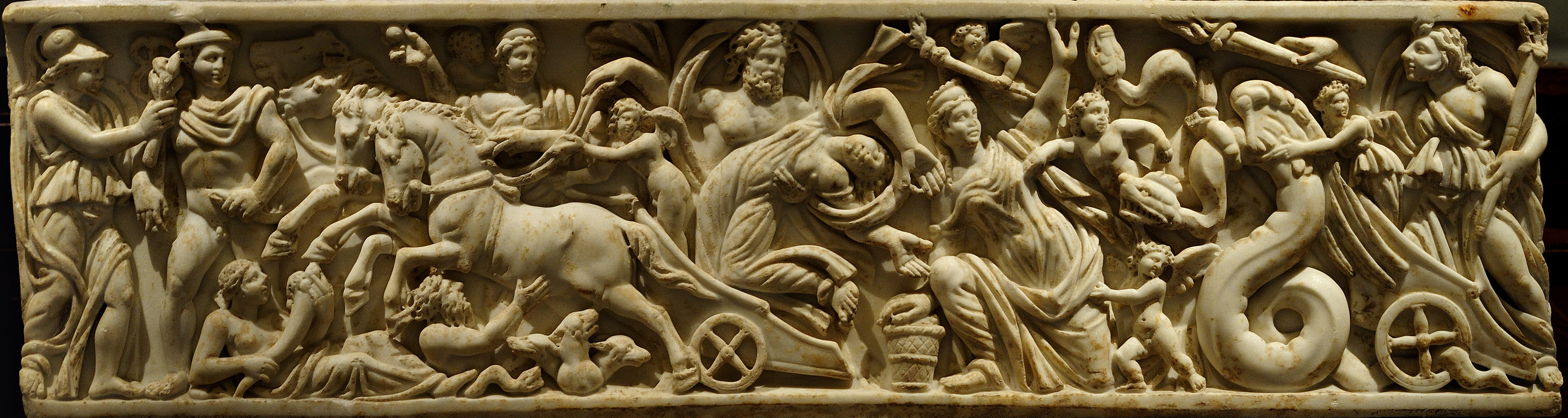 Front panel of a sarcophagus with a scene of abduction of Persephone by Hades. Marble. Beginning of the 3-в cent. CE. Inv. No. I 1126. Vienna, Museum of Art History