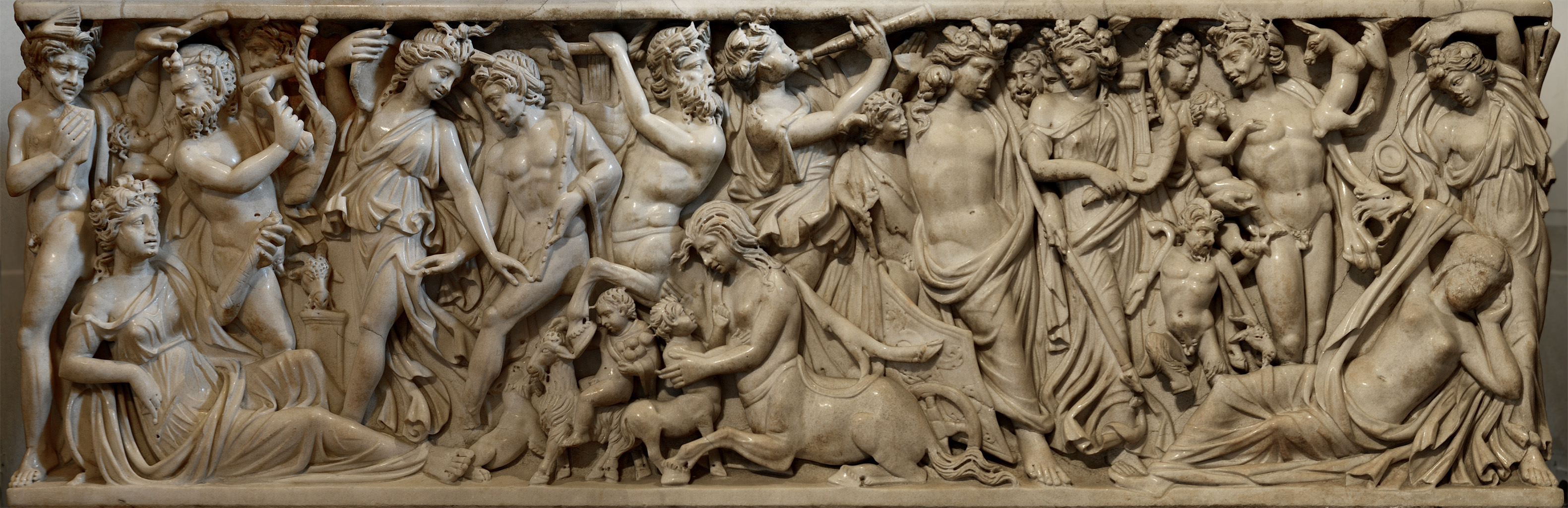 Sarcophagus with a myth of Dionysus and Ariadne (front panel). Marble. Ca. 235 CE. Inv. No. Ma 1346. Paris, Louvre Museum