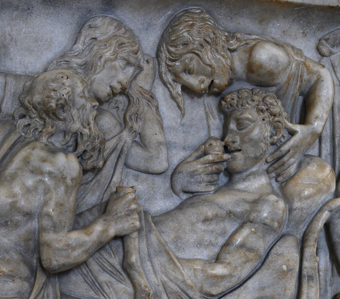 Death of Meleager (a close-up of front panel with scenes from the myth of Meleagre). Marble. Roman work ca. 180 CE. Inv. No. Ma 539. Paris, Louvre Museum