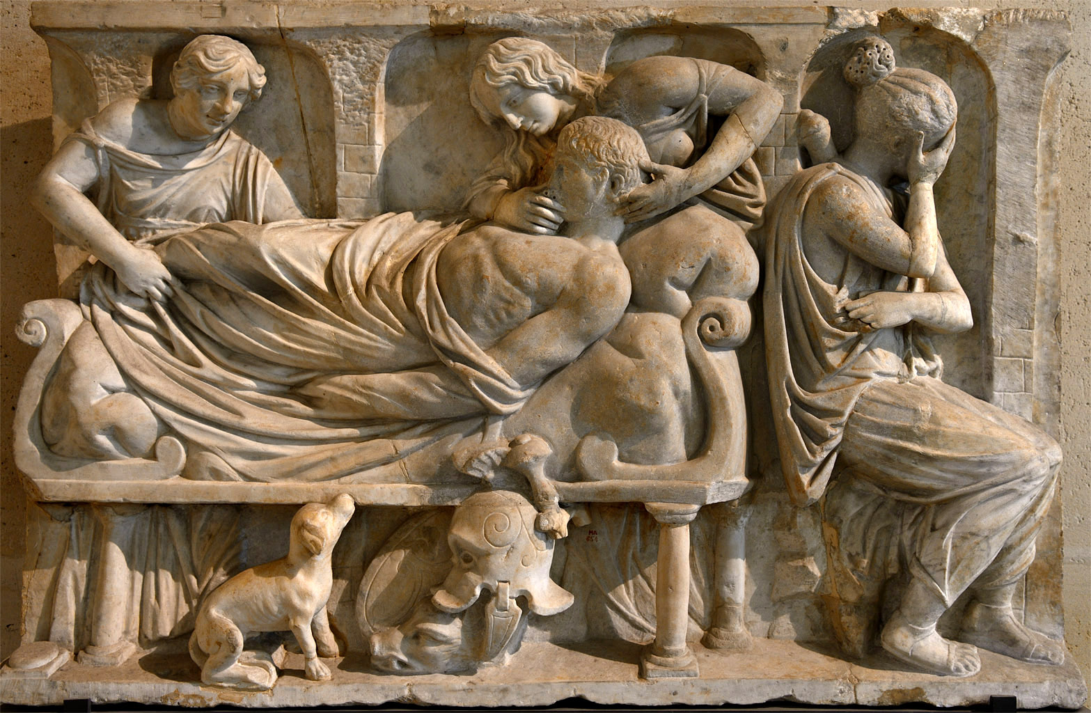 Death of Meleager (front panel of a sarcophagus). Marble. Roman work 160-170 CE. Inv. No. Ma 654. Paris, Louvre Museum