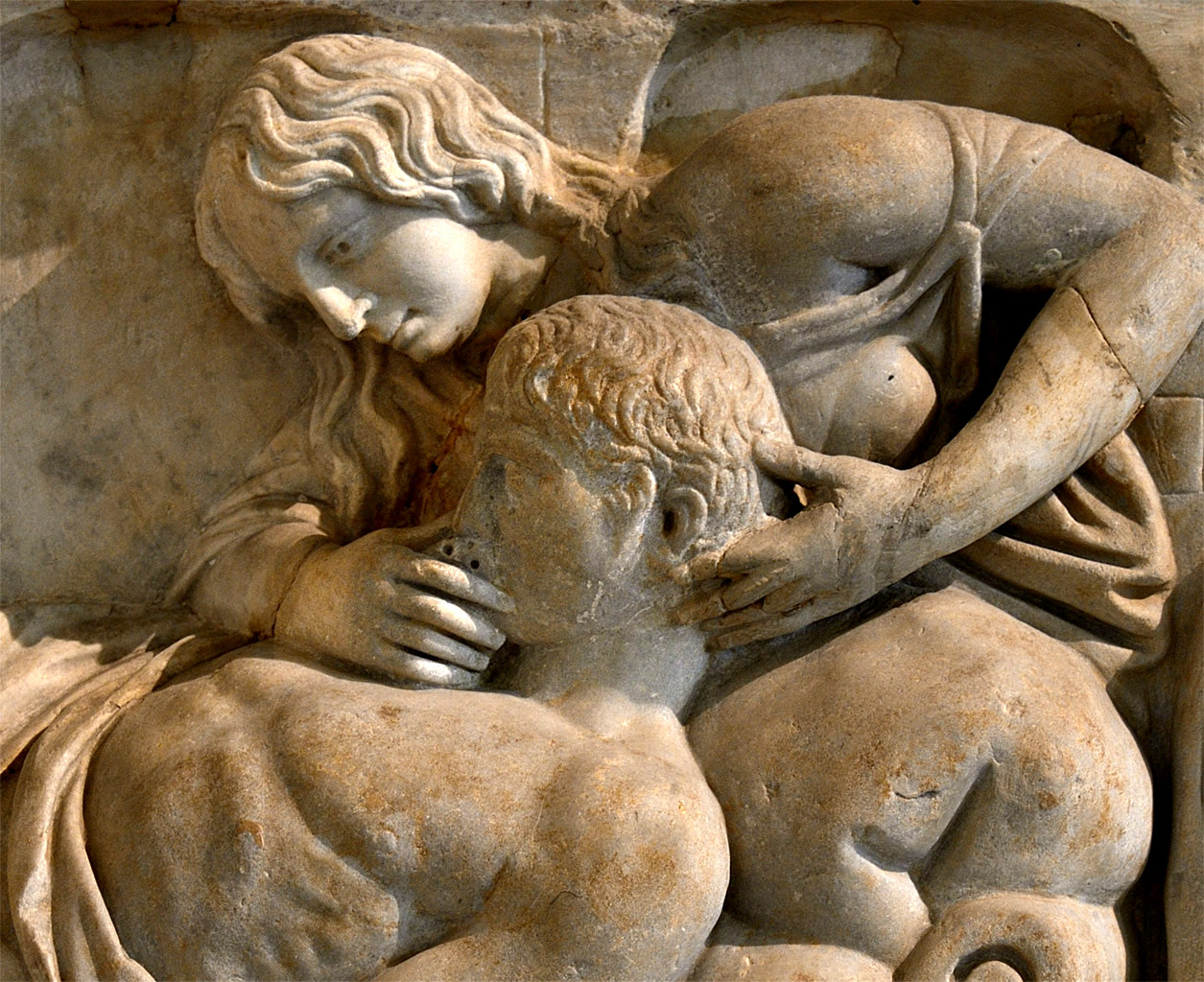 Death of Meleager (close-up of relief of the front panel of a sarcophagus). Marble. Roman work 160-170 CE. Inv. No. Ma 654. Paris, Louvre Museum