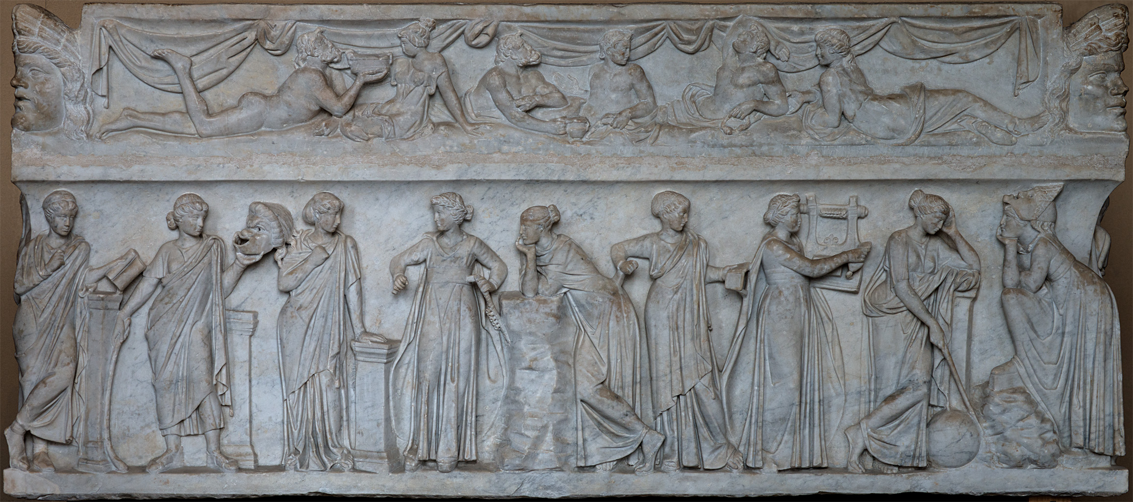 Sarcophagus of the Muses. Marble. Rome. First half of the 2nd cent. CE.  Inv. No. MR 880 (Ma 475). Paris, Louvre Museum