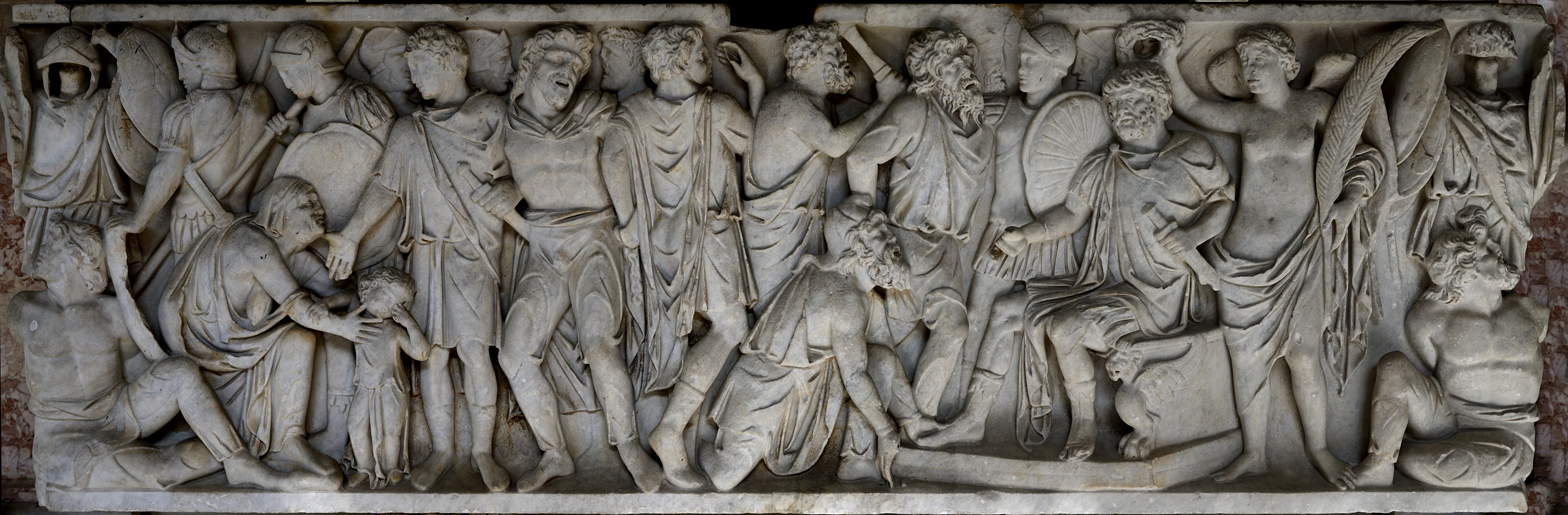 Front panel of a sarcophagus of a roman military officer with a scene of clemency. Marble. Ca. 180 CE. Inv. No. 942. Rome, Vatican Museums, Pius-Clementine Museum, Octagonal Court, Nord portico, 15