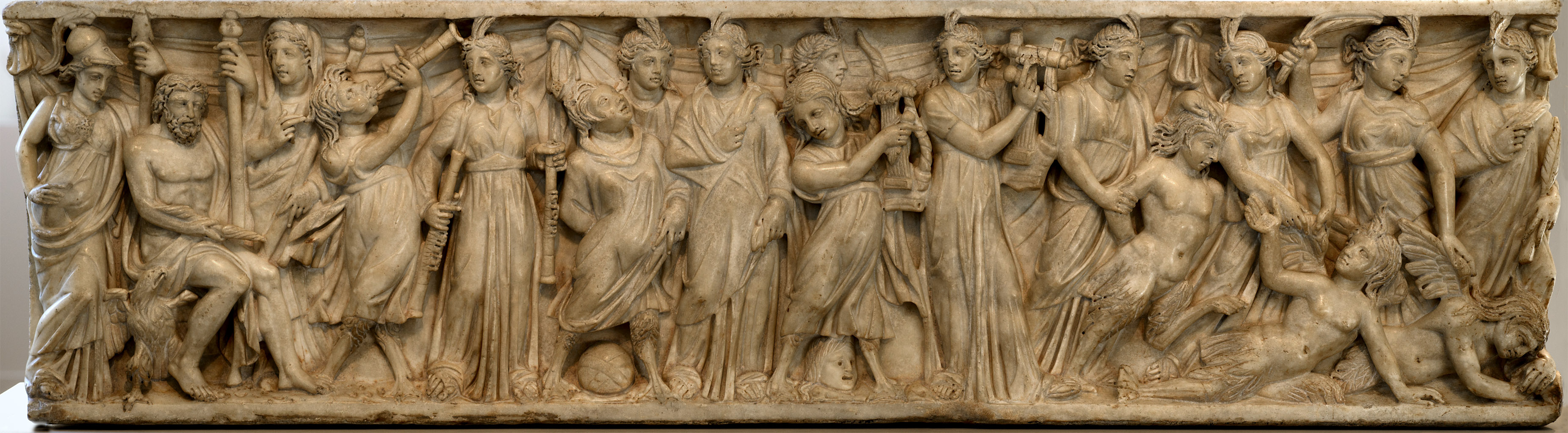 Sarcophagus with the contest between the Muses and the Sirens. Marble. Roman. Third quarter of the 3rd cent. CE.  Inv. No. 10.104. New York, the Metropolitan Museum of Art