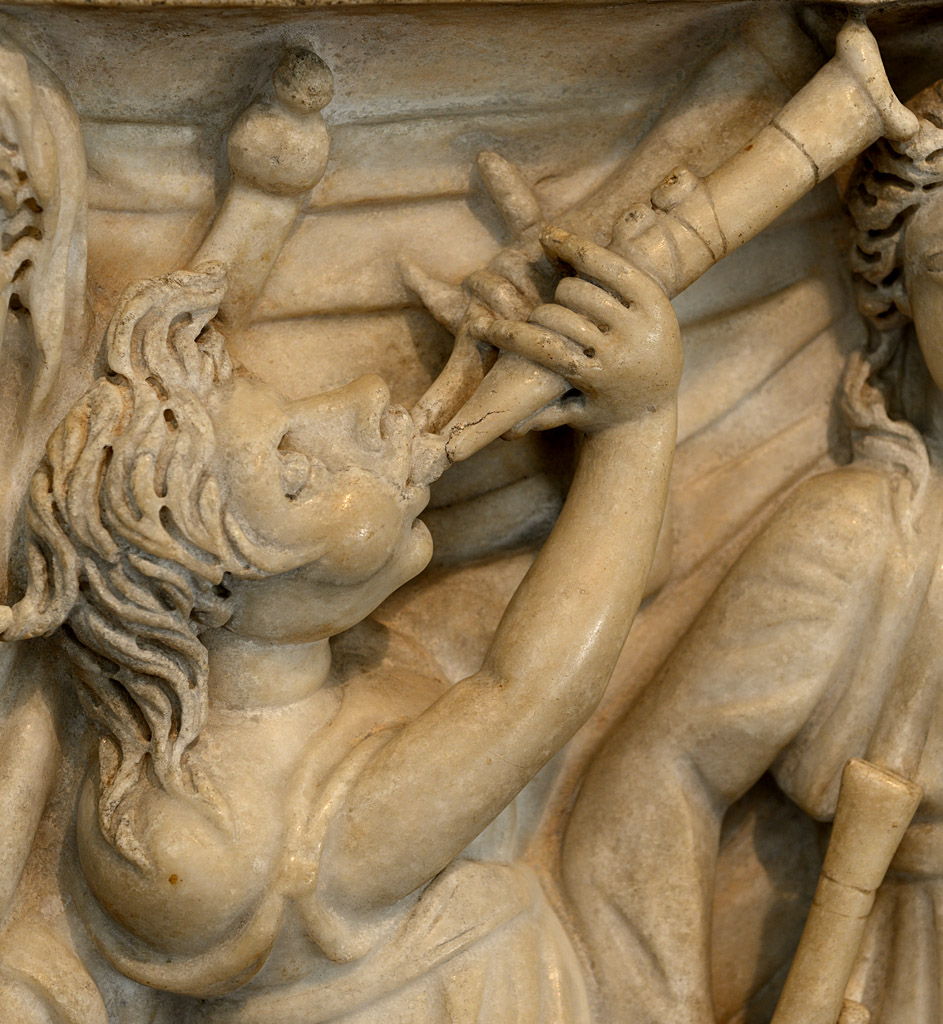 Sarcophagus with the contest between the Muses and the Sirens (close-up). Marble. Roman. Third quarter of the 3rd cent. CE. Inv. No. 10.104. New York, the Metropolitan Museum of Art