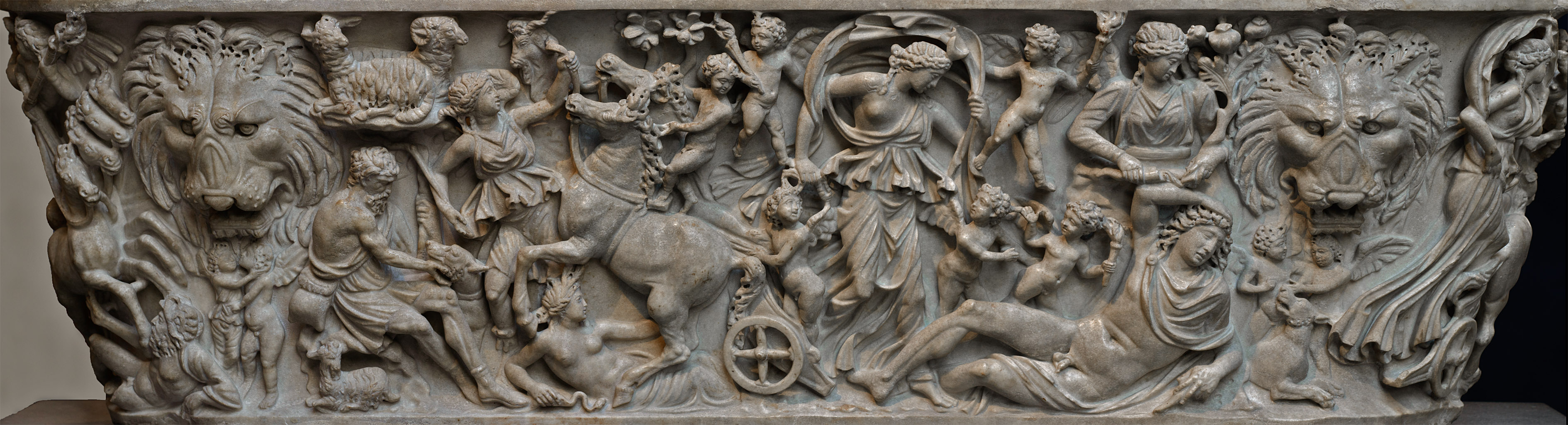 Sarcophagus with a myth of Selene and Endymion. The front relief. Marble. Early 3rd cent. CE. Inv. No. 47.100.4a. New York, the Metropolitan Museum of Art