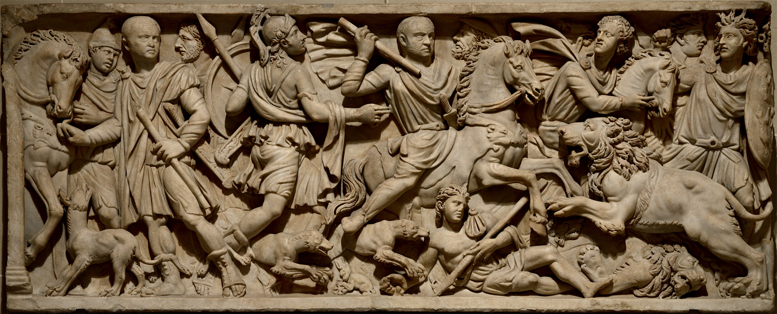 Front relief of a sarcophagus with a scene of lions hunting. Marble. First half of 3rd cent. CE. Inv. No. MR 739 / Ma 346 Paris, Louvre Museum